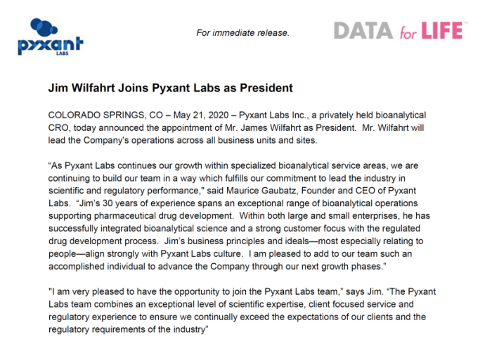 Jim Wilfahrt Joins Pyxant Labs as President