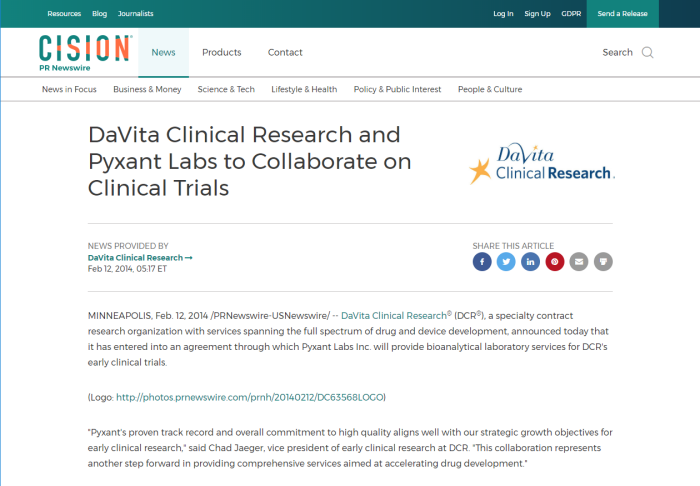 DaVita Clinical Research and Pyxant Labs Collaborate on Clinical Trials