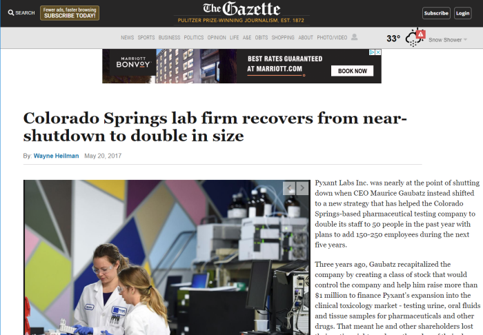 Gazette article on Pyxant Labs Inc